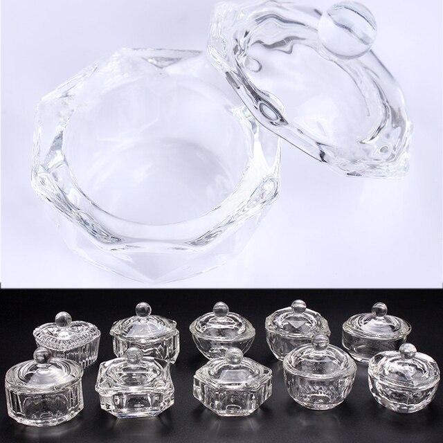 1PC acrylique poudre liquide verre clair trempage plat couvercle bol support de verre équipement ongle outil pour Nail Art 10 Patern