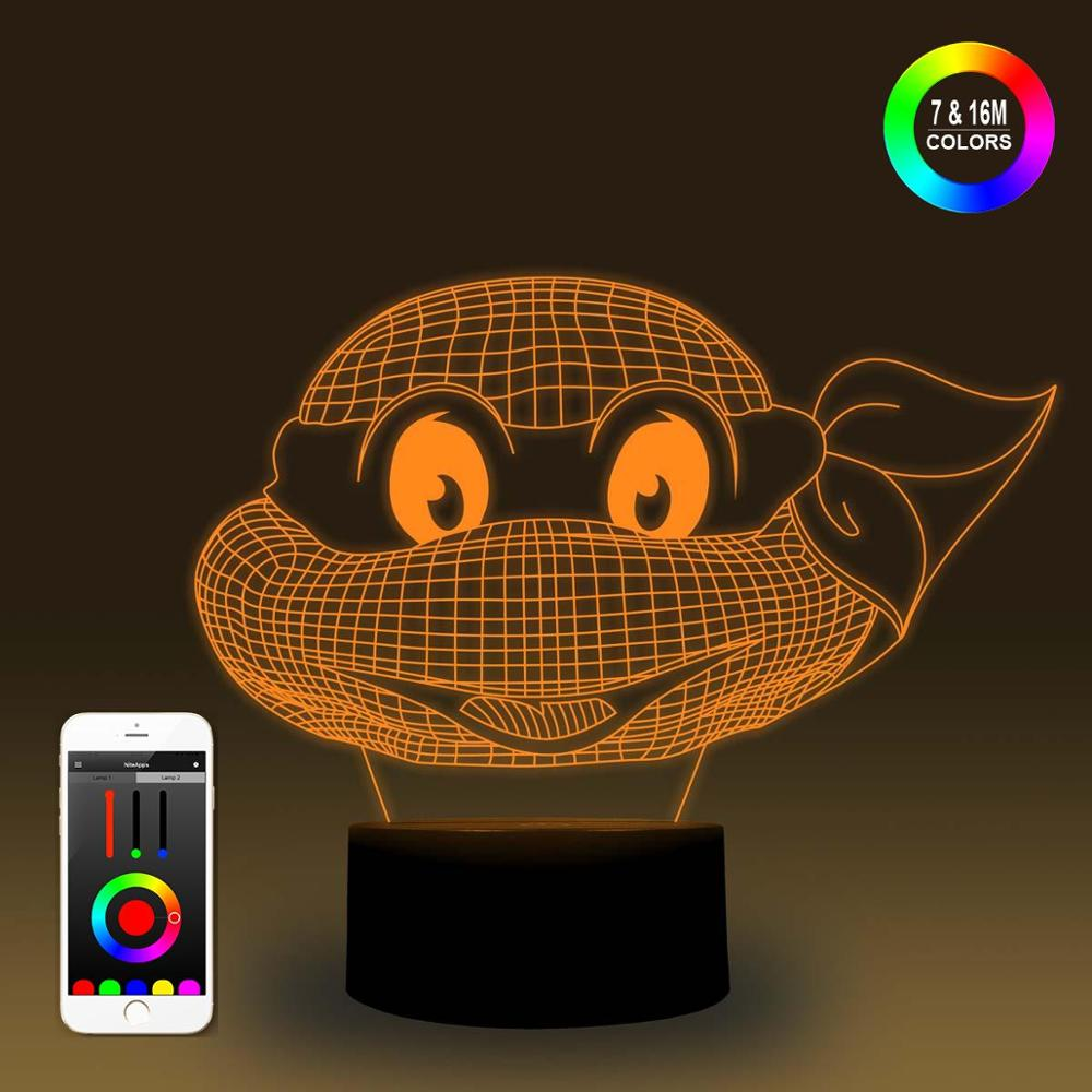 NiteApps 3D Turtle Head Night Light Desk Table Illusion Lamp Holiday Birthday Gift APP/Touch Control