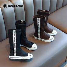 Г. Новые модные ботинки на весну-осень сапоги на резиновой подошве для девочек сапоги до середины икры без застежки на Молнии Черная детская обувь на плоской подошве для девочек