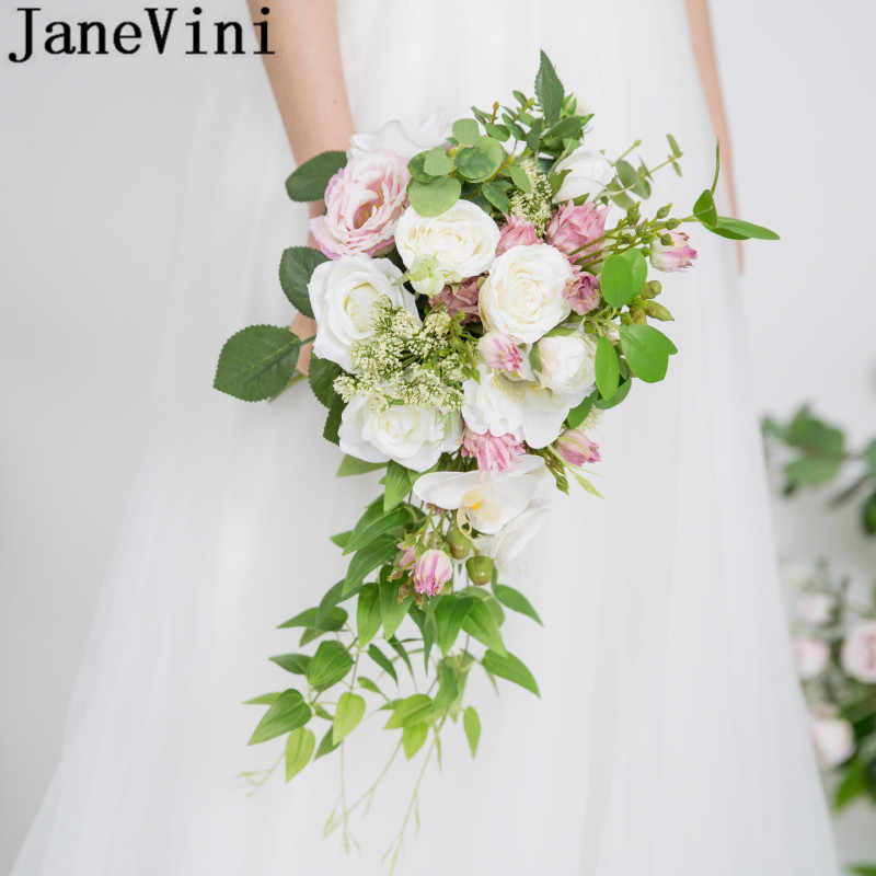 Janevini 2020 Waterfall White Orchid Wedding Bouquet For Brides