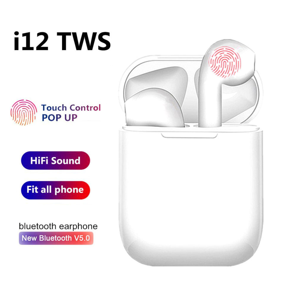 Original i12 <font><b>tws</b></font> Wireless Headphones Bluetooth Earphones 3D Stereo Sound Headset sports earbuds For Iphone Xiaomi Samsung Huawei image