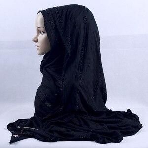 Image 5 - 200x120cm KASHKHA Brand Lavorato A Maglia Lunga Sciarpa di Strass Ceco Musulmano Velo Hijab Diamanti Di Lusso Della Banda Wrinked Impacchi di Testa