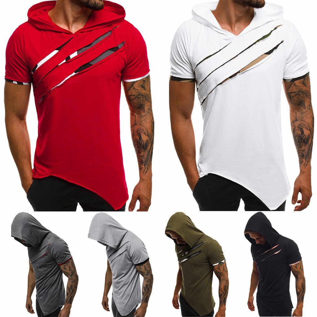 Hoodie fino streetwear esporte topo t com capuz retalhos ajuste fino manga curta encapuçado topos estranhos coisas verão @ d