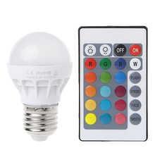 цена на 3W E27 AC 85-265V RGB LED Light Bulb Lamp Color Changing+IR Remote Control 2019Drop ship