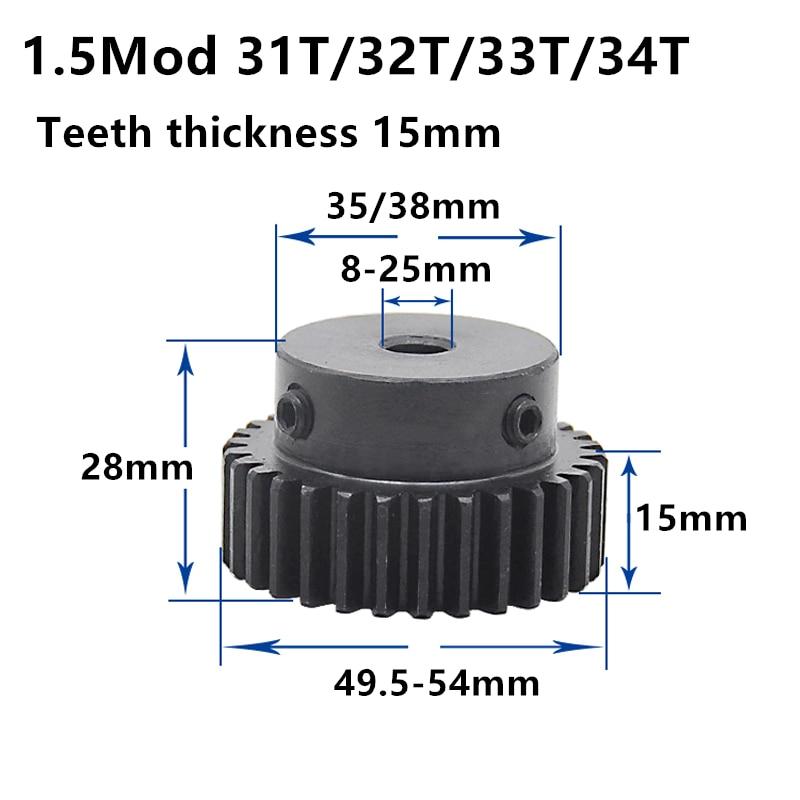 1.5M 31T 32T 33T 34T High Frequency Blackening Spur Gear Pinion Teeth Width 15mm 1.5mod Gear Rack 33teeth Bore 6-25mm
