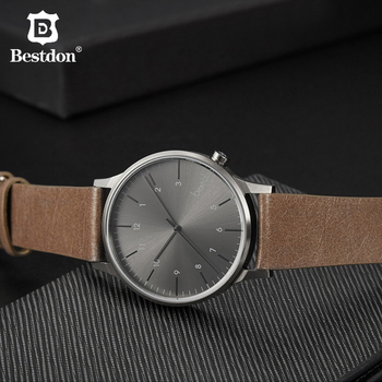 Bestdon Men's Vintage Quartz Watch Leather Calfskin Strap Fashion Brand Wristwatch Waterproof Man Clock Hand Gift For Male New