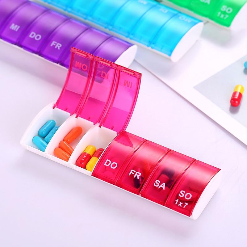 7 dias semanais pílula organizador tablet pílula caixa de armazenamento de plástico medicina caixa divisores jan88