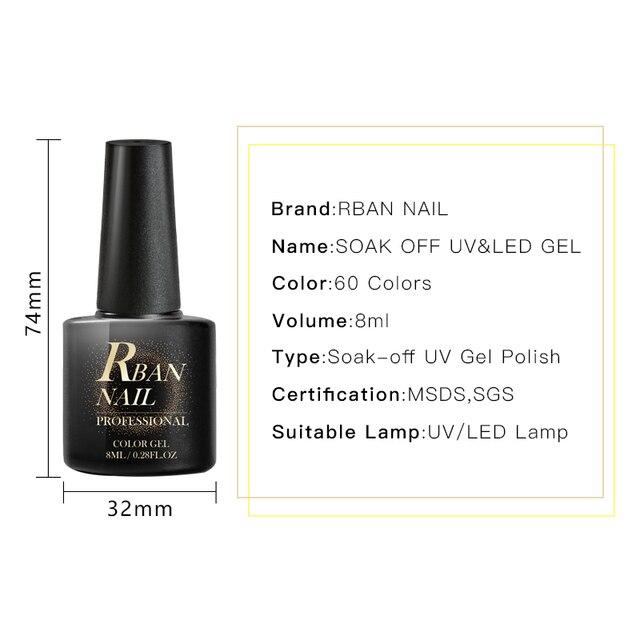 RBAN NAIL 60 Colors Matte UV Gel Nail Polish 8ml Pure Nail Color Need Matte Top Coat Soak Off Nail Art Gel Varnish Manicure 5