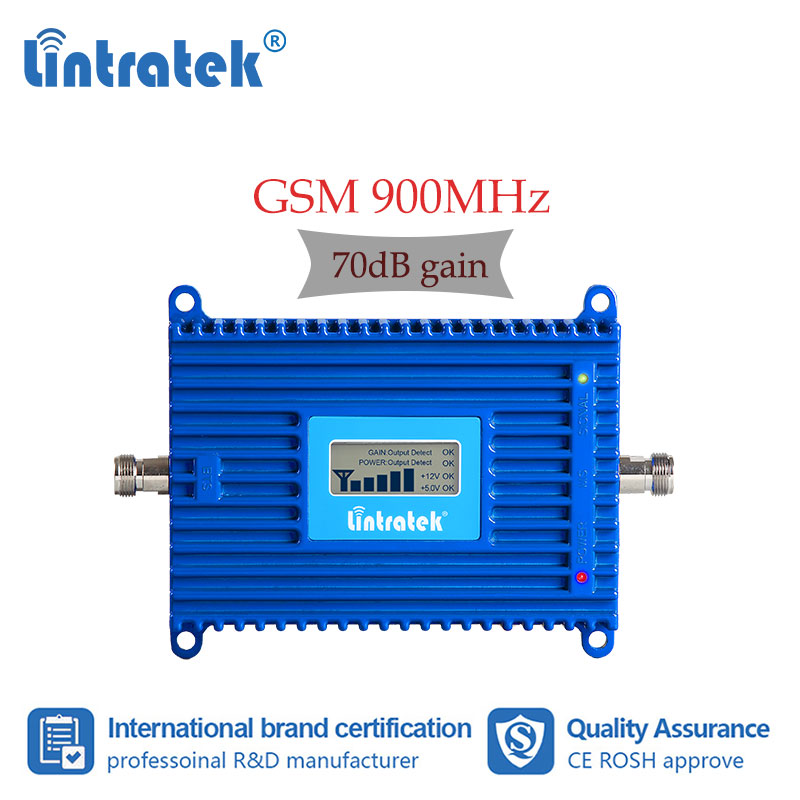 Lintratek GSM 2G 900MHz 70dB Gain UMTS 3G Cellular Booster LCD Display High Gain 900 Mobile Phone Signal Repeater 2G 3G 900 Repeater Amplifier Dh