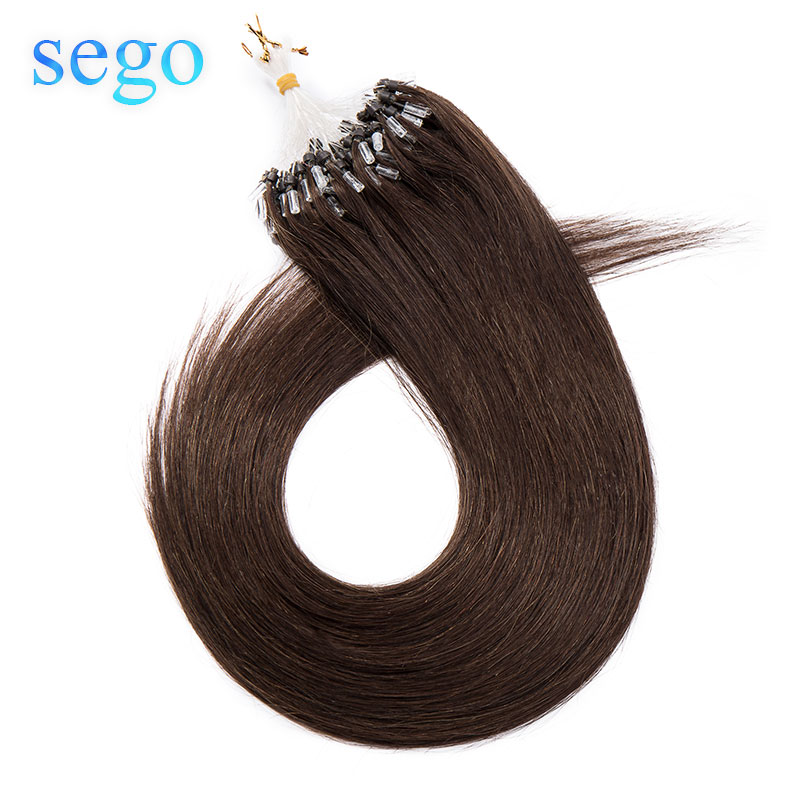 SEGO 1g/s 50pcs Straight Micro Loop Ring Hair Extension With Micro Beads 100% Human Hair Non-Remy Hair 16