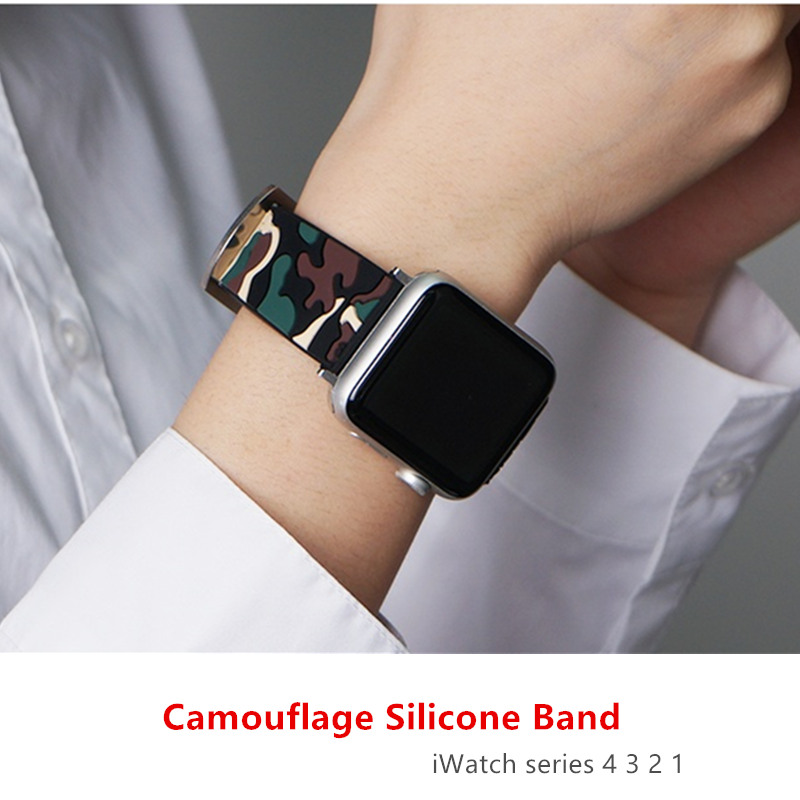 Camouflage Strap For Apple Watch 4 5 Band 44 Mm 40mm IWatch 42mm 38mm Silicone Sport Bracelet Watchband For Apple Watch 5 4 3 21