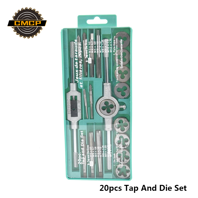 Hand Tools 20pcs High Quality Tap And Die Set Thread Tap And Dies Adjustable Tap Wrench 1/8-1/2 3mm-12mm Screw Tap