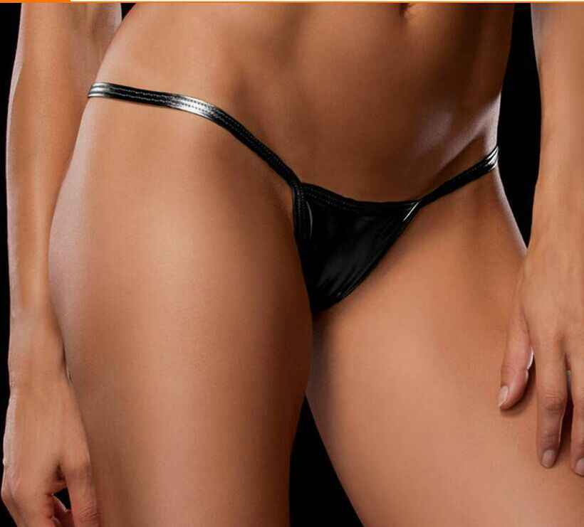 Shiny G String Micro Mini Women Sexy Panties For Women Underwear Metallic Pu Leather thong Ladies Erotic Lingerie wholesale
