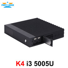 Partaker K4 Mini komputer Intel Core i3 5005U dwurdzeniowy DDR3 mSATA mały komputer z wentylatorem HTPC Windows 10 Linux WiFi VGA HDMI PC