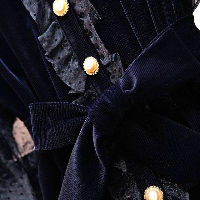Cyanlee Autumn Winter Women Casual Dress O-neck  Ruffles Patchwork Lantern Sleeve A-line Voile Fashion Temperament Mini Dress