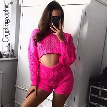 Cryptographic Two Piece Tops And Shorts Set Fashion Neon Round Neck Long Sleeve Knitted Top Twist Solid Short Pant Knitwear 2019