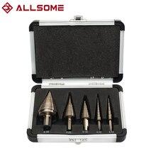 ALLSOME 5pcs Metric Hss Cobalt Step Drill Bit Set Multiple Hole 50 Sizes with Aluminum Case
