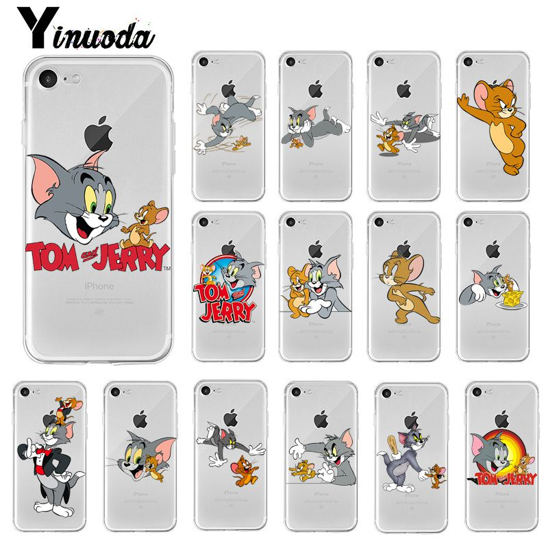 Yinuoda <font><b>Tom</b></font> and <font><b>Jerry</b></font> Cat and mouse <font><b>Cartoon</b></font> Printing Drawing Phone <font><b>Case</b></font> Cover for <font><b>iPhone</b></font> 8 <font><b>7</b></font> 6 6S Plus X XS MAX 5 5S SE XR 10 image
