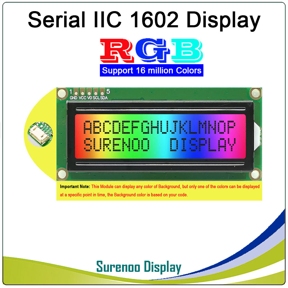 Grove 162 16X2 1602 3.3-5V Serial IIC I2C FSTN Positive Character LCD Module Display Screen LCM Panel With RGB Backlight