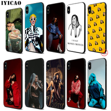 IYICAO Cardi B Cool Rap Soft Black Silicone Case for iPhone 11 Pro Xr Xs Max X or 10 8 7 6 6S Plus 5 5S SE