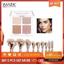 IMAGIC, комбинированный макияж для лица, 4 цвета, блестящая пудра, 9 нейлоновых волос, набор кистей для макияжа