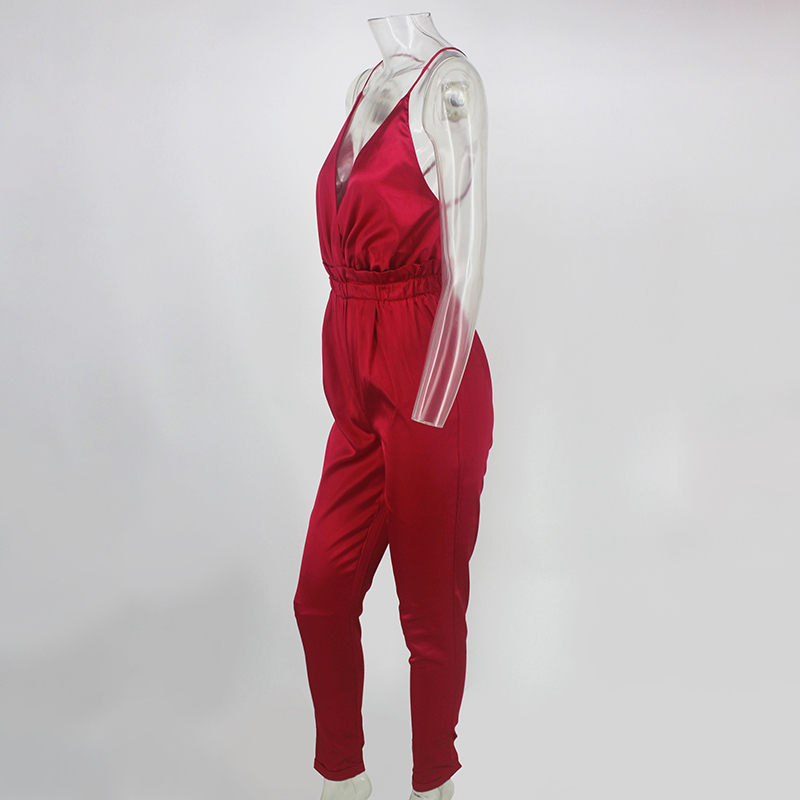 Pink Red Black Open Back Elegant Jumpsuit 12