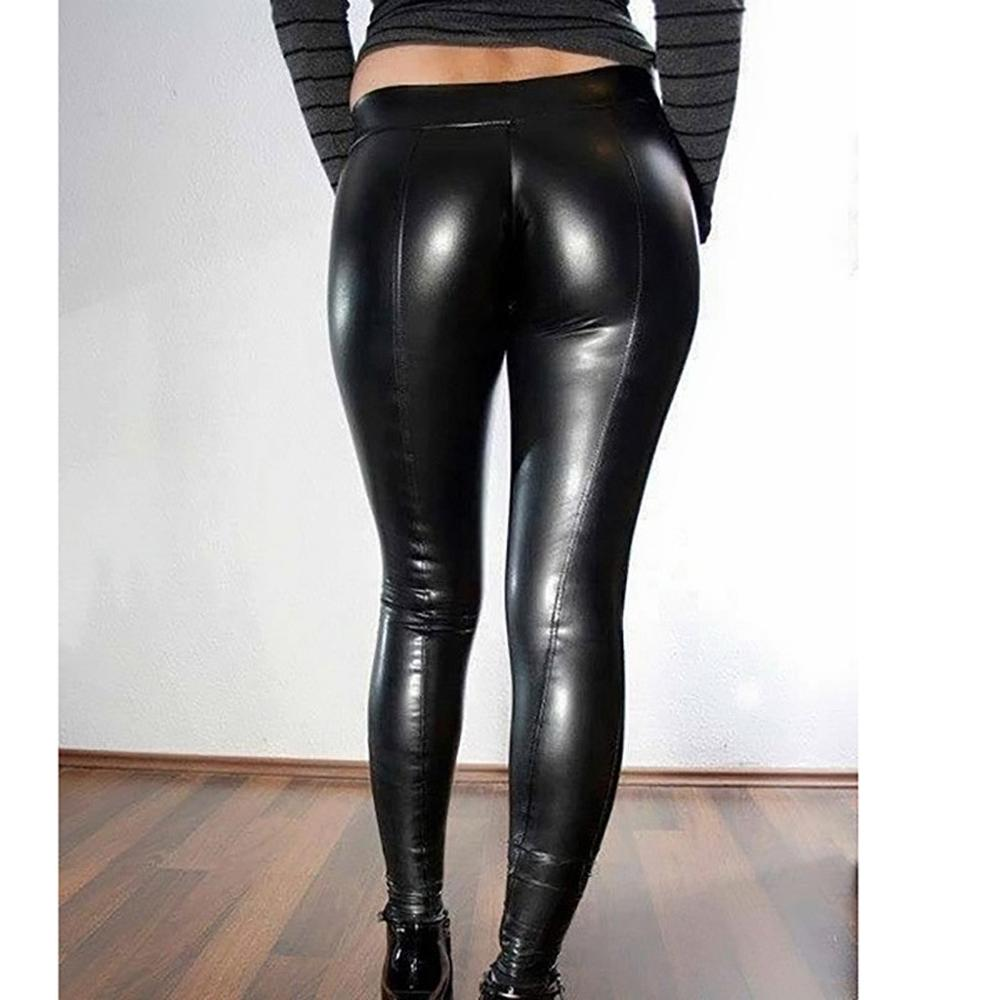 Black PU Legging Shiny Bling Faux Patent Leather Stretch Elastic Leggings Wet Look PVC Pants Fitness Leather Athletic Pants image