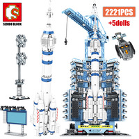 SEMBO Creator RC Aerospace Rocket Building Blocks City Military Technic Remote Control Carrier Space Launch Bricks Toys For Boys