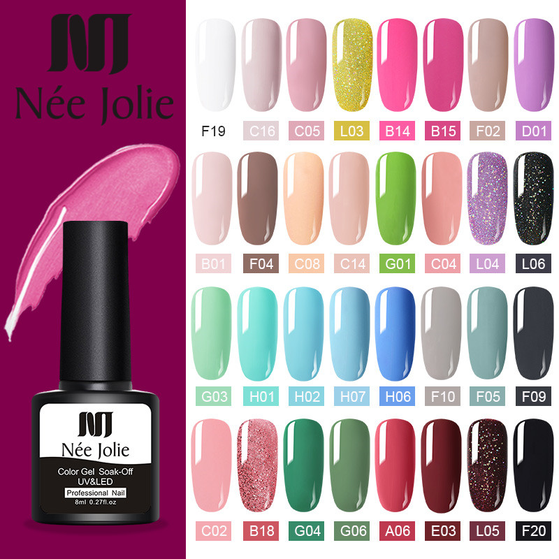 NEE JOLIE Nail UV Gel Polish  60 Colors Gray Red Nail Color UV Gel Varnish Soak Off UV Gel 8ml For Nail Decoratio