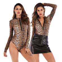 Bodysuit for women V Neck Bodysuit Leopard printed Long Sleeve Autumn Wear Slim fitted Short Bodycon female sexy women jumpsuits v cut textured slim fitted tee