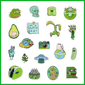 Cartoon Green enamel brooch animal frog cat alloy badge mountain peak leaves earth skeleton camera pin Fashion Clothes jewelry