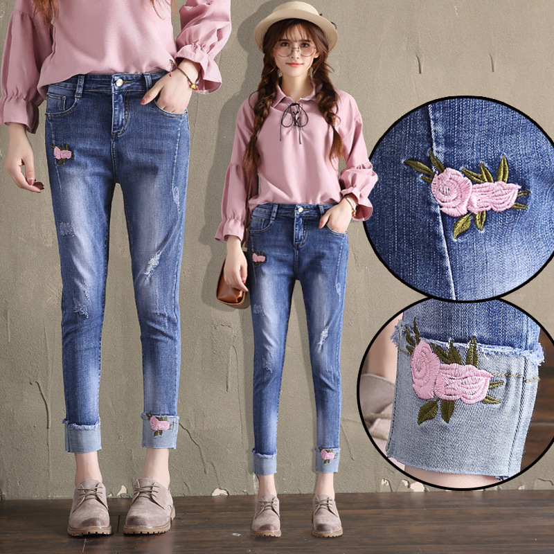 High Waist Jeans Women's Embroidery Flower With Holes Capri Pants Autumn New Style Pencil Pants Large Size Slim Fit Slimming Ski