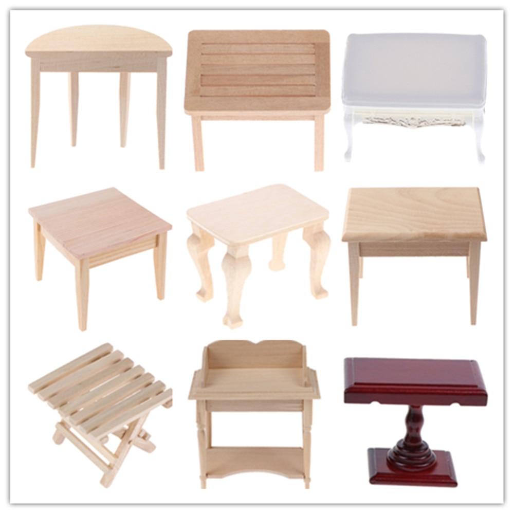 Wood Plastic Teatable Coffee Table Living Room Kid Toy Miniature Dolls Simulation Home Toy 1:12 Dollhouse Furniture Miniature