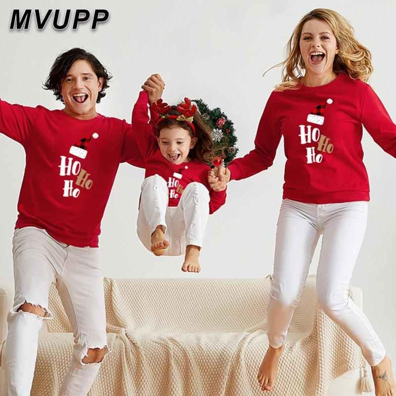 Hohoho santa familie passenden weihnachts pullover nette cartoon papa mama kinder hoodies sets winter kleidung mama papa sohn tochter