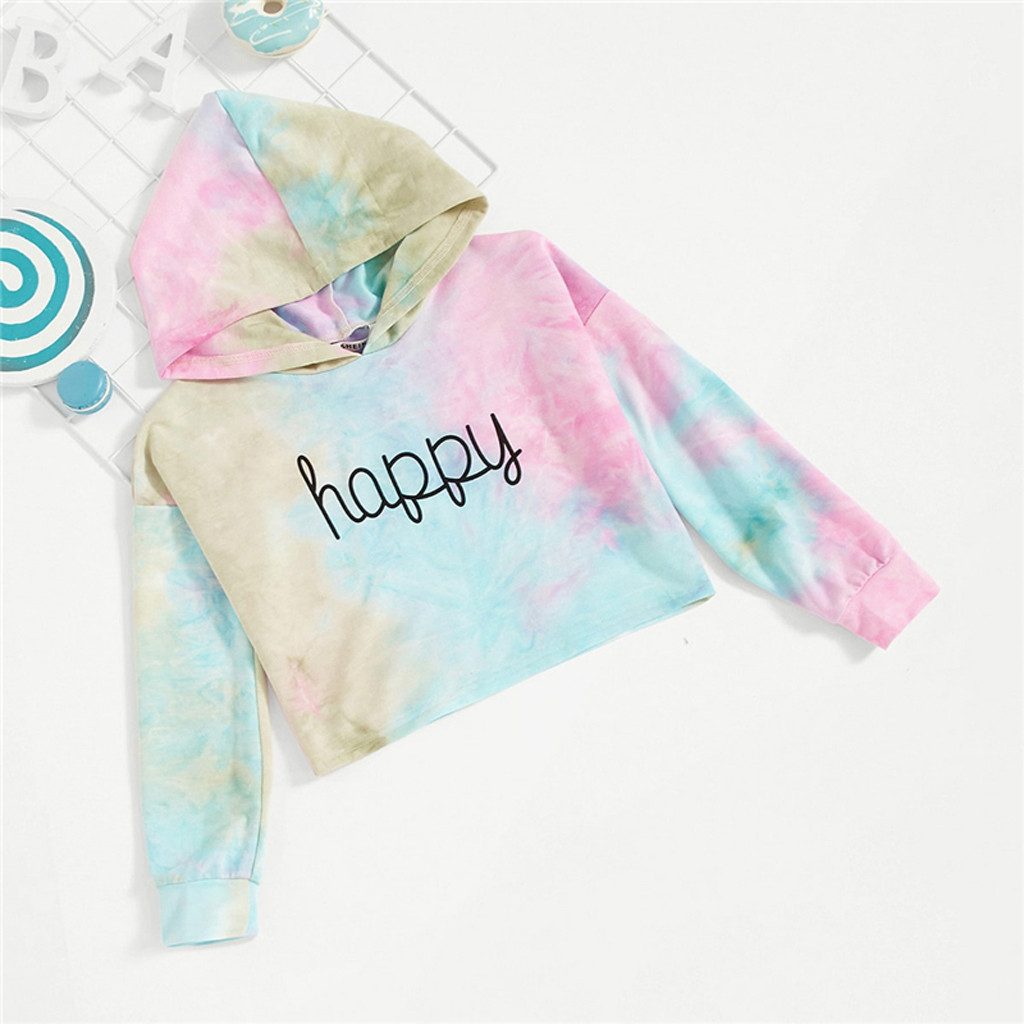 Fashion Letter Happy Print Tie Dye Cute Hoodies For Girls Tops 2020 Spring Korean Fashion Long Sleeve Sweatshirts For Girls 1-7T