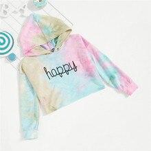 Fashion Letter Happy Print Tie Dye Cute Hoodies For Girls Tops 2020 Spring Korea