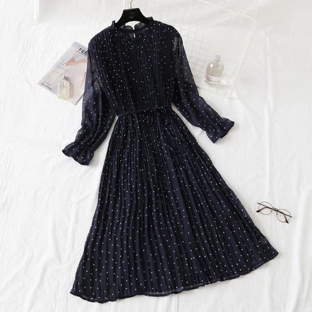 Elegant Polka Dot Women Dress Female Casual Flare Sleeve Office Chiffon Dot Print Dresses A-line Vintage Sweet Clothing Vestidos 3