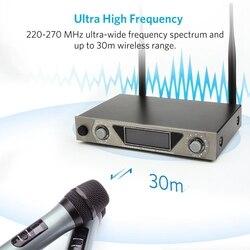 Podwójny kanał bezprzewodowy ręczny mikrofon UHF domowy mikrofon do Karaoke LCD System do domu KTV Karaoke ue wtyczka