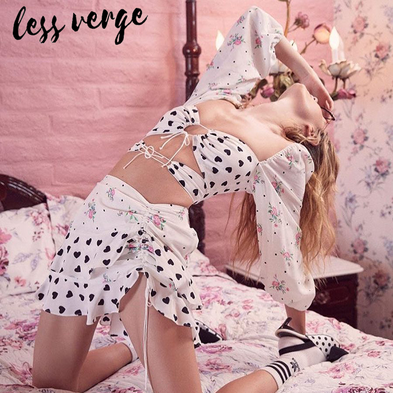 lessverge Floral heart two piece set dress suit Women long sleeve white 2 piece suits outfit Female ruffle casual mini skirt top in Women 39 s Sets from Women 39 s Clothing