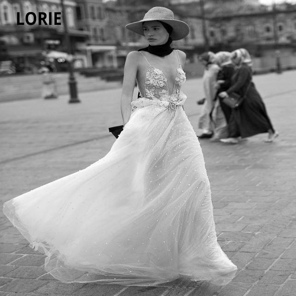 LORIE 2020 Sexy Deep V-neck Appliques Pearls Lace Wedding Dresses Boho Sleeveless Beach Bridal Gowns Custom Made Plus Size