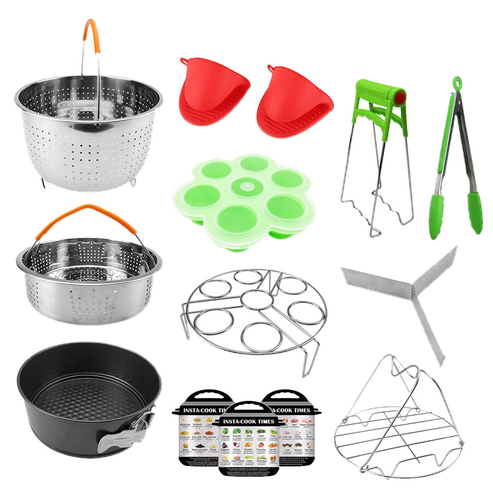 14PCS Steamer Basket Pressure Cooker Accessories Set Multipurpose Mold Home Non Stick Stainless Steel Eggs Rack Oven Mitts