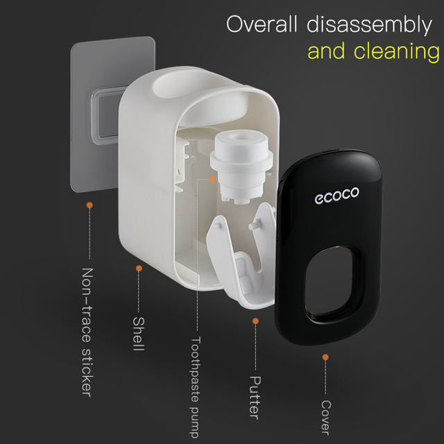 Wall Mount Automatic Toothpaste Dispenser Bathroom Accessories Set Toothpaste Squeezer Dispenser Bathroom Toothbrush Holder Tool 6