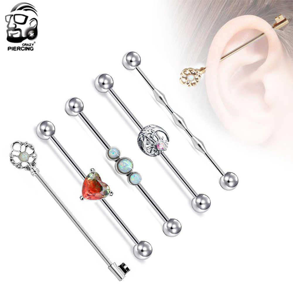 1pc 1.6*38mm פלדה אופל תעשייתי ברבל שמש ירח סחוס Helix בר אוזן טבעת לב פירסינג תכשיטי ם לנשים גברים