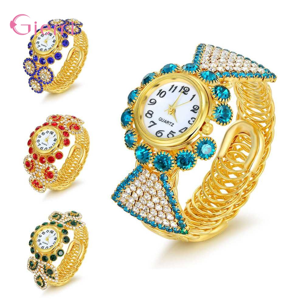 Women Round Full Rhinestone Bracelet Watch Multiple Color For Choose Ladies/Kids Wrist Watch Wristwatch Clock Gift For Valentine