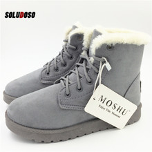 Classic Women Winter Boots Suede Ankle Snow Boots Female Warm Fur Plush Insole High Quality Botas Mujer Lace-Up plus size women winter snow boots warm short plush flat botas ankle boot platform ladies suede zip shoes female warm botas mujer