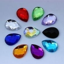 30PCS 13*18mm Drop Acrylic Rhinestones Crystal Flatback Beads  DIY Non Hotfix teardrop beads for decoration clothing