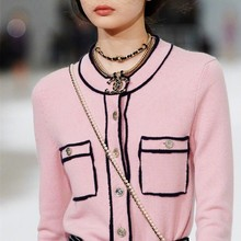 Różowy pasiasty sweter dziergany sweter dla kobiety 2021 wiosna jesień cienki Jersey Jumper Designer Luxury Vintage Elegent