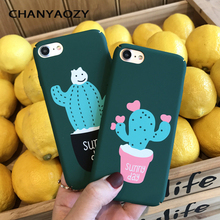 Cartoon Green plant Cactus Pattern Case For iPhone XR XS MAX 6 7 8 S Plus  Simple PC Hard Phone Cases Back Cover lovers Coque
