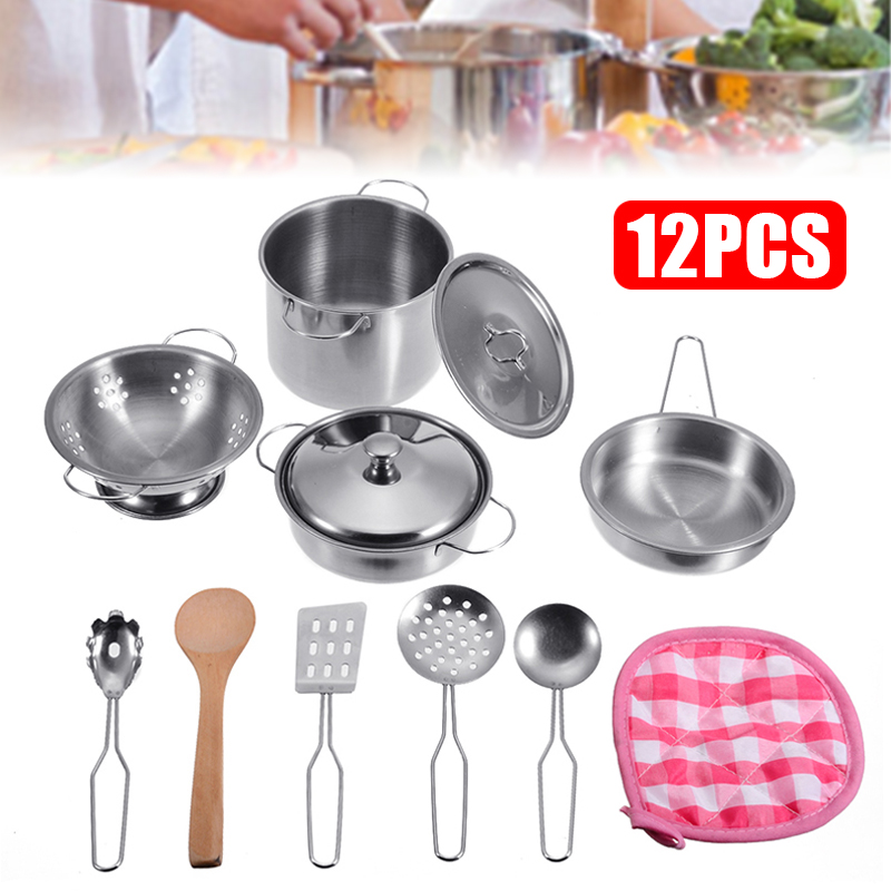 12pcs Kitchen Toys Stainless Steel Cookware Pots Pans Set Kids Child Pretend Play Mini Cooking Toy Set Playset
