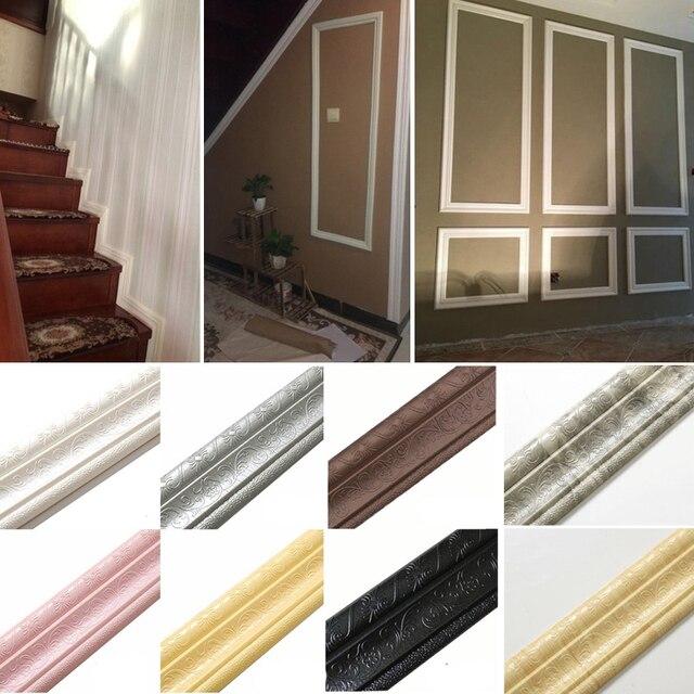 3D Foam Wall Stickers Self-adhesive Strip Wall Decor Waistline Border Frame Wallpaper Waterproof Wall Sticker Home Improvement